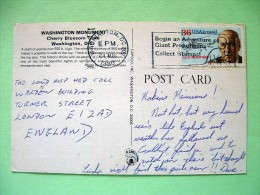 "USA 1990 Postcard ""Washington Monument - Cherry Blossom Time"" To England - Igor Sikorsky - Plane - Etats-Unis"