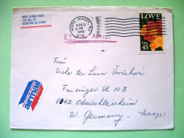 USA 1990 Cover Boonton To Germany - LOVE Flowers Roses - Etats-Unis