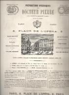 Publicité Préparations Hygièniques Du Docteur Pierre 8, Place De L'Opéra à Paris De 1877 - Publicités