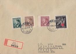 Böhmen Und Mähren R-Brief Mif Minr.92,95,97,132 Prag 4.12.43 - Briefe U. Dokumente