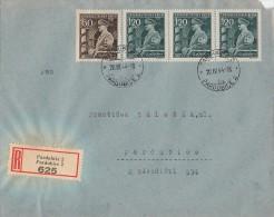 Böhmen Und Mähren R-Brief Mif Minr.136,3x 137 Pardubitz 20.4.44 FDC - Böhmen Und Mähren