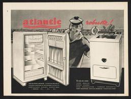 Pub Papier 1960 Electro Menager Machine à Laver Refrigerateur ATLANTIC Dessin Marin - Publicités
