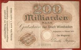 BILLET DE NECESSITE . ALLEMAGNE .   WIESBADEN . 200 MILLIARDEN MARK . Im Oktober 1923 - 200 Milliarden Mark
