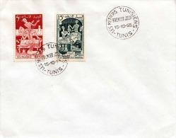 TUNESIEN 1955, Erstag, 2 Sondermarken Auf Brief, 2 Erstagstempel - Tunesien (1956-...)