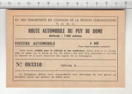 Route Automoblie Du Puy De Dome -  Carte Valable Pour Le Véhicule Et Son Conducteur - Voitures
