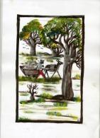 Burkina Faso, Pô, Peintre,peinture Acrylique Sur Canson, 21 X 29,50, Baobab,paysan, âne, Attelage - Acryliques