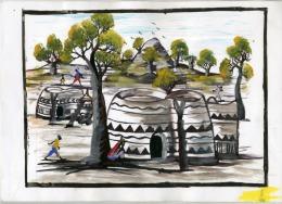 Burkina Faso, Pô, Peintre,peinture Acrylique Sur Canson, Tiébélé, Cases Peintes, Gourounsi , Baobab21 X 29,50 - Acrilici