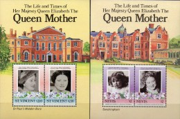 UK Mother Queen 1985 Vincent Block 19+Grenadinen Nevis Bl.5 ** 5€ Mädchen/85.Geburtstag Bloque Hojitas Sheets Bf Caribic - St.Vincent (1979-...)
