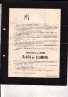 Habay-la-Neuve VERVIERS Alfred De BONHOME 1834-1911 Famille RADZITZKY D'OSTROWICK Doodsbrief - Décès