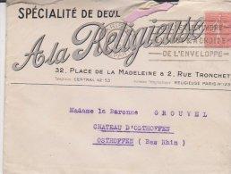 Lettre Paris 1930 A La Religieuse - Marcophilie (Lettres)