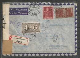 1943 -  TRES BELLE LETTRE RECOMMANDEE, PAR AVION Et CENSUREE Avec Bel Affranchissement - Svizzera
