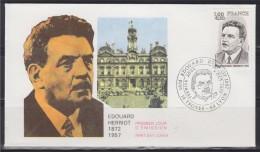 = Enveloppe Edouard Herriot 1er Jour 10 Troyes & 69 Lyon 08 10 77 N°1953 Homme Politique Et Académicien - Célébrités