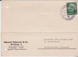 Lettre Eduard Scharrer Nürnberg Pour Pfaffenheim Alsace 1942 - Lettres & Documents