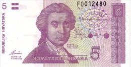 CROATIE  5 Dinara  Emission De 1991   Pick 17        ***** BILLET  NEUF ***** - Croatia