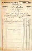 FACTURE  SAVONNERIE DES HALLES  Paris  Brosserie,Couleurs,Eponges,Savons,Produits Chimiques JUIN 1942 B - Droguerie & Parfumerie