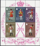 ANTIGUA, 1971 MILITARY UNFORMS MINISHEET MNH - Stamps