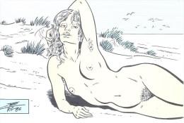 """C. BERG: Les Plages """"Mimizan"""" [ Nu Dessin Plage Baigneuse ] AE096 - Autres Illustrateurs"""