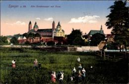 Cp Speyer Am Rhein, Alte Stadtmauer Mit Dom, Passanten, Brücke, Fluss - Germany