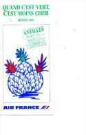 ANTILLES MARTINIQUE GUADELOUPE HORAIRES AIR FRANCE 1989 - Monde