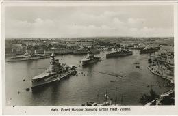 Malta Grand Harbour Showing British Fleet Valletta - Malte