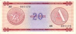 CUBA   20 Pesos Exchange Certificat  Serie A Emission De 1985  Pick FX5     ***** BILLET  NEUF ***** - Cuba