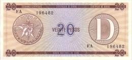 CUBA  20 Pesos Exchange Certificat  Serie D Emission De 2000  Pick FX36     ***** BILLET  NEUF ***** - Cuba
