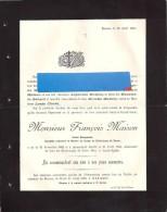 Racour  - FP Décès   Bourgmestre   François Maison  1825 / 1895 - Décès
