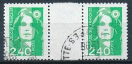 France - Marianne De Briat 2,40 Vert YT 2820 Obl. (paire Horizontale + Interpanneau) - 1989-96 Marianne Du Bicentenaire