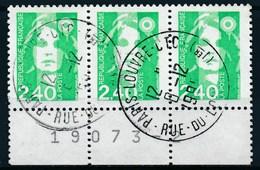 France - Marianne De Briat 2,40 Vert YT 2820 Obl. (bande De 3 Horizontale + Marge Numérotée) - 1989-96 Marianne Du Bicentenaire