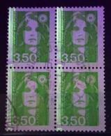 France - Marianne De Briat 3,50 Vert-jaune - 1 Bande Phospho YT 2821a Obl. (bloc De 4) - 1989-96 Marianne Du Bicentenaire