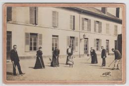Photographie Ancienne Cartonnée D'une Partie De Croquet - Jeu De Croquet - Old (before 1900)