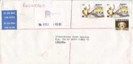Zimbabwe 1984 Harare Communication Train Numerated Registration Label Registered Cover - Zimbabwe (1980-...)