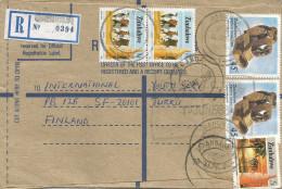 Zimbabwe 1988 Jahunda Scupture Art Cattle Cow Rectangular Cancel And Johannesburg Registered Stationary Cover - Zimbabwe (1980-...)