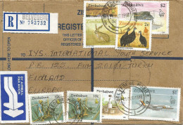 Zimbabwe 1996 Belvedere Mobile Mining Hare Guinea Fowl Registered Stationary Cover - Zimbabwe (1980-...)