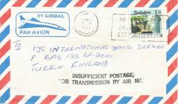 Zimbabwe 1989 Bulawayo Underfranked Air Mail Handstamp Cover - Zimbabwe (1980-...)