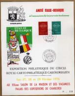 Feuillet Numéroté Amitié Italie Belgique Charleroi Europa 1111 1112 - Hojas