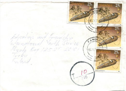Zimbabwe 1995 Famona Taxed 30 Mm Circle With T And Striped Line With 110 Underfranked Cover - Zimbabwe (1980-...)