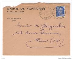 Fontaines Saone Et Loire Enveloppe En-tête Mairie 1953 - Vieux Papiers