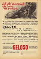 # AMPLIFIERS GELOSO ITALY 1950s Advert Pubblicità Publicitè Reklame Amplifier Amplificatore Verstarker Amplificador - Amplificateurs
