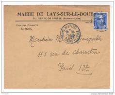Lays Sur Le Doubs Pierre De Bresse Saone Et Loire Enveloppe En-tête Mairie 1954 Très Bon état - Vieux Papiers