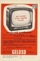 # TV TELEVISION GELOSO ITALY 1950s Advert Pubblicità Publicitè Reklame Publicidad Radio TV Televisione - Libri & Schemi