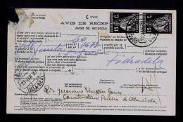 RARE AVISO DE RECEPÇÃO Stamped ( Ceres 15c.x2 Black ) Mod.nº95 VILA REAL 22-01-1929 SERVICE DES POSTES Portugal Gc1433 - Variétés Et Curiosités