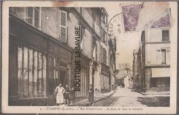 91----ETAMPES--Rue Sainte Croix--au Fond La Tour De Guinbette--commerce--animé---cpsm Pf - Etampes