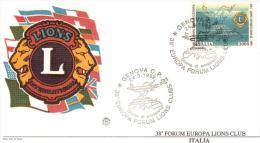LIONS CLUB ITALIA - 38 FORUM EUROPA 1992 FDC - Rotary, Lions Club
