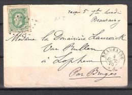 30 S/lettre De Beauraing Pour Bruges. - 1869-1883 Leopold II