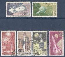 Space 1962 Czechoslovakia Used 6 Stamps Mi 1320-34, Yv 1208-13,  Sc 1105-10  Space Exploration - Space