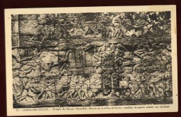 Cpa  Du Cambodge  Angkor Thom Temple Du Bayon  Bas Relief Armée En Marche , Orchestre , Machine De Guerre LAM21 - Cambodia