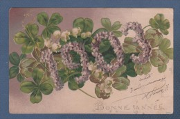 CP GAUFREE BONNE ANNEE 1903 - TREFLE A QUATRE FEUILLES FLEURS MUGUET - CIRCULEE - New Year