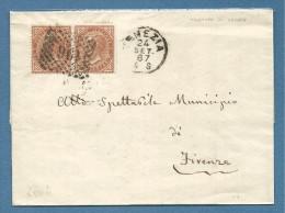 1867 VENEZIA  + PUNTI SU COPPIA 10c.DLR  - LETTERA PER  FIRENZE - 1861-78 Vittorio Emanuele II
