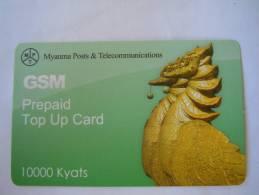 Myanmar Birmanie Burma Birma Hinta (bird) Elite Tech 10000 Kyats Turquoise Mobile GSM Prepaid TOP UP Card EXP: No Date - Myanmar